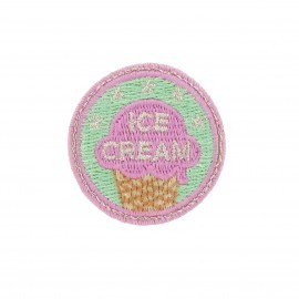 Badge Ice-cream iron-on applique - green