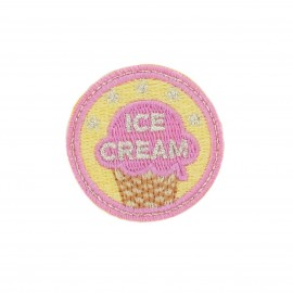Badge Ice-cream iron-on applique - yellow