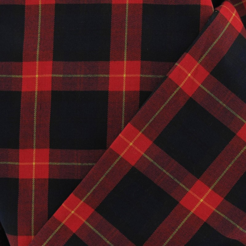 Tissu tartan cossais rouge noir jaune x10cm ma petite for Veste a carreaux rouge et noir