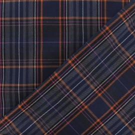 Tissu tartan écossais bleu marine/orange/rose x10cm