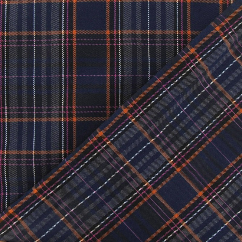 tissu tartan cossais bleu marine orange rose x10cm ma petite mercerie. Black Bedroom Furniture Sets. Home Design Ideas