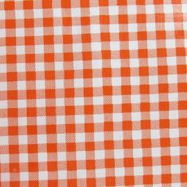 Tissu toile cirée petit vichy orange x 10cm