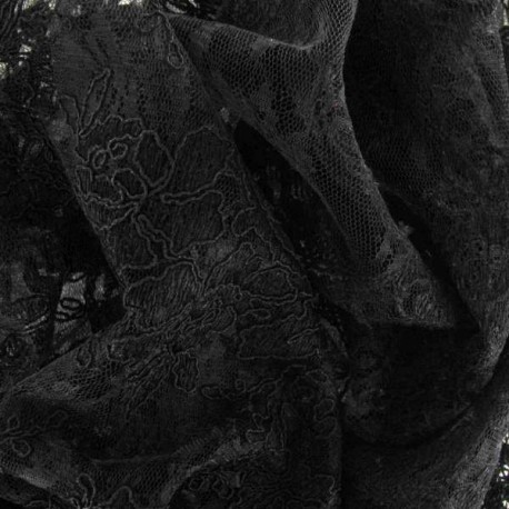 Annabelle Lace Fabric - Black x 10cm