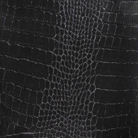 ♥ Coupon tissu 120 CM X 135 CM ♥ Simili cuir Crocodile noir strass argent