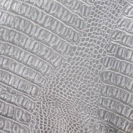 Simili cuir Crocodile argent x 10cm
