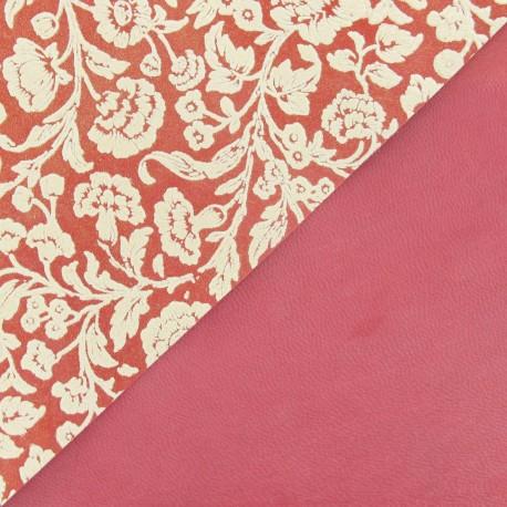 Cuir Rouge fleurs orange (2 tailles)