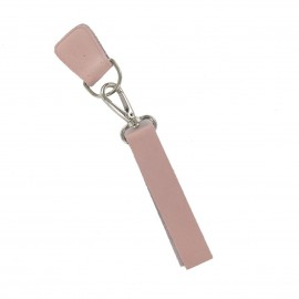 Leather strap with snap hook and D-buckle-strap Rosa - pink