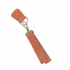 Leather strap with snap hook and D-buckle-strap Illium - orange