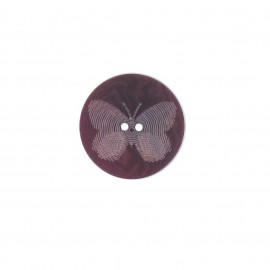 Polyester button, Butterfly - purple
