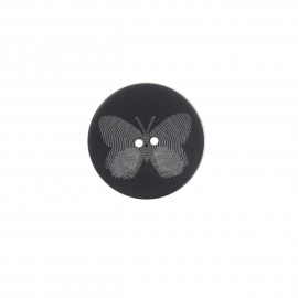 Polyester button, Butterfly - black