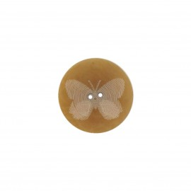 Polyester button, Butterfly - light brown