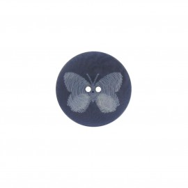 Polyester button, Butterfly - navy blue