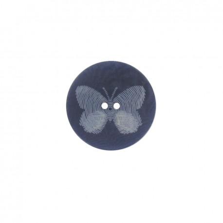 Bouton polyester Butterfly bleu marine
