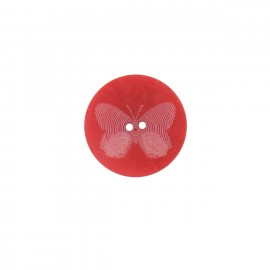 Bouton polyester Butterfly rouge