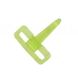 Mousqueton plastique transparent vert anis