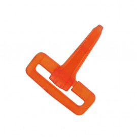 Mousqueton plastique transparent orange