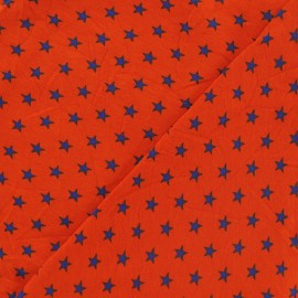 Star jersey fabric - blue/orange x 10cm