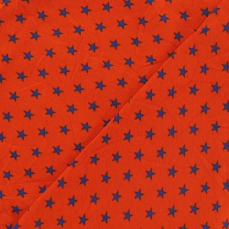 Star jersey fabric - blue/orange x 10cm
