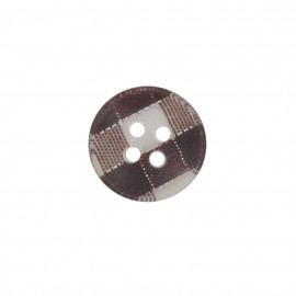 Button, rounded-shaped, checkered - brown