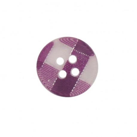 Bouton rond carreaux violet