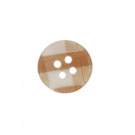 Button, rounded-shaped, checkered - light brown