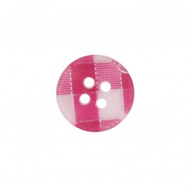 Button, rounded-shaped, checkered - fuchsia