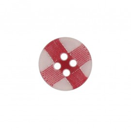 Button, rounded-shaped, checkered - red