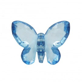 Bouton polyester Forme papillon crystal bleu