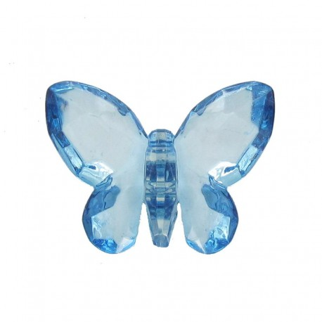 Polyester butterfly-shaped crystal button - blue
