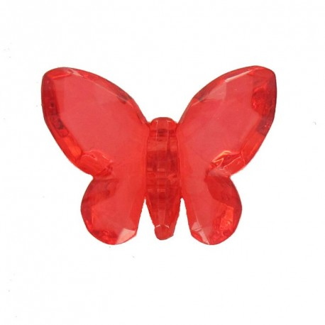 Bouton polyester Forme papillon crystal rouge