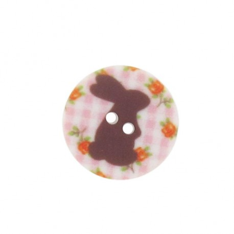 Button, rounded-shaped, Rabbit - pink