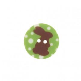 Bouton rond lapin vert
