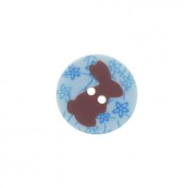 Bouton rond lapin bleu