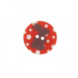 Button, rounded-shaped, Rabbit - red