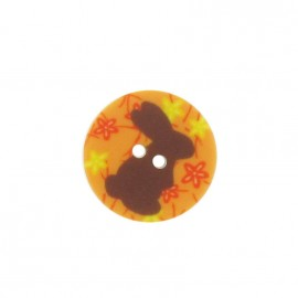 Bouton rond lapin orange