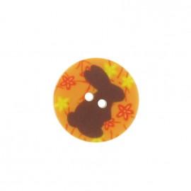 Button, rounded-shaped, Rabbit - orange