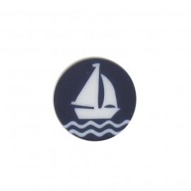 Button, naval, sailboat - navy blue