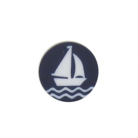 Bouton marin Voilier bleu marine