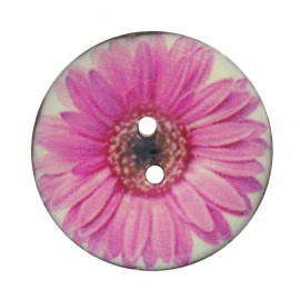 Button, varnished Coco, daisy - pink