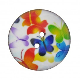 Button, varnished Coco, butterfly - multi-colored