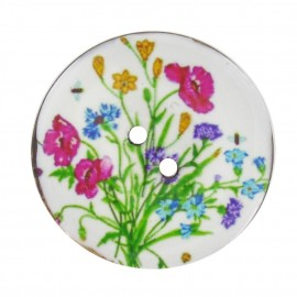 Button, varnished Coco, wild flowers - multicolored