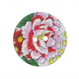 Button, varnished Coco, begonia flower - multicolored