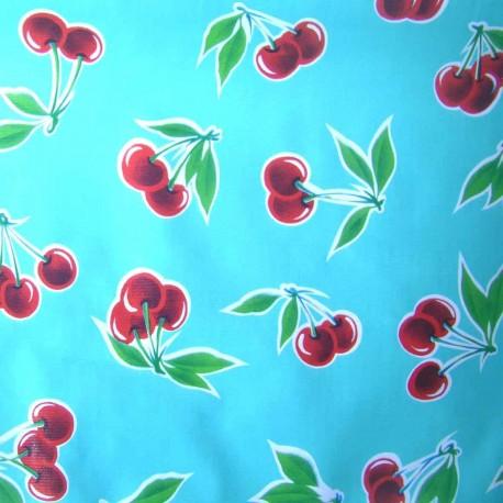 Fabric toile cirée Cerises fond bleu x 10cm