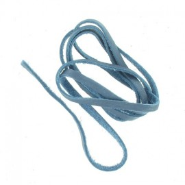 Leather shoelace 60cm, End - cerulean frost