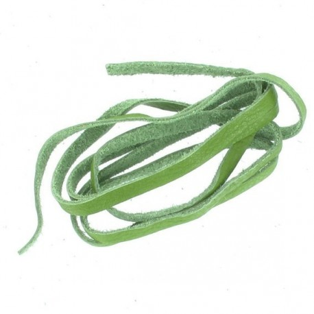 Leather shoelace 60cm, Moos - green