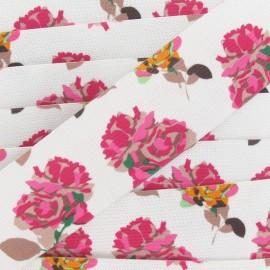 Elastique plat fantaisie 40 mm Fleurs multi rose
