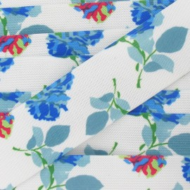 Elastique plat fantaisie 40 mm Fleurs bleu