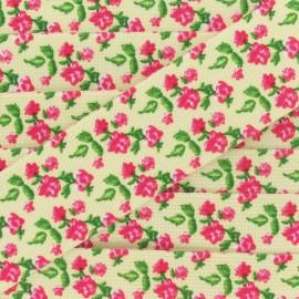 Elastique plat fantaisie 40 mm Petites roses fond crème