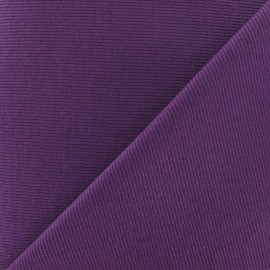 Tissu jersey tubulaire bord-côte 1/2 aubergine x 10cm
