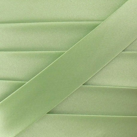 Satin bias binding, 20mm - almond green